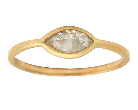 0.50ct Marquise Grey Rose-cut Diamond & Yellow Gold Wire Ring