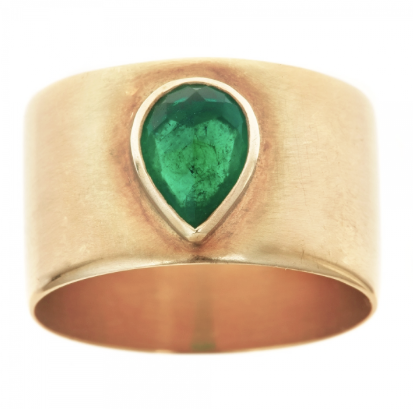 Carine Band & Pear Rose Cut Emerald