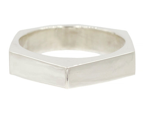 Sterling Silver Hexagonal Band