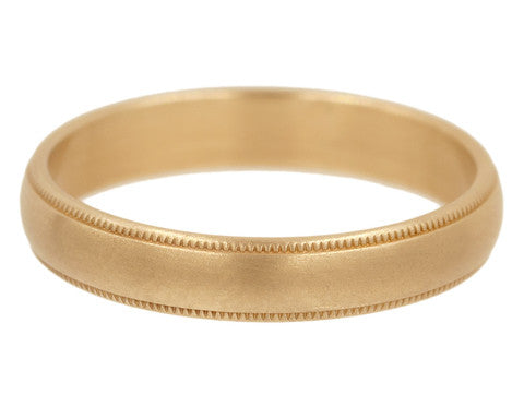 Milgrain Beaded Edge Gold Wedding Band