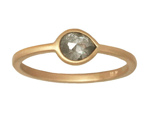 0.63ct Pear Rose-cut Grey Diamond & Yellow Gold Wire Ring