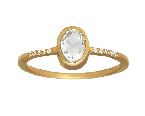 0.50-carat Oval Rose-cut White Diamond Yellow Gold Ring