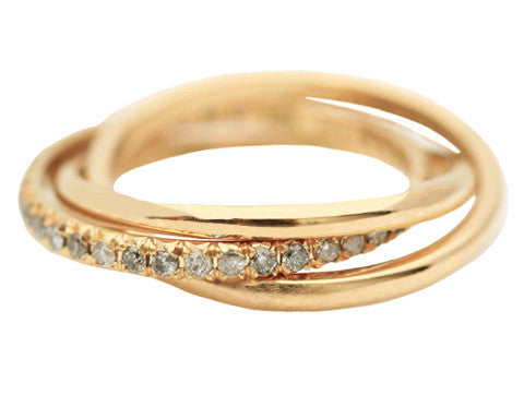 Grey Diamond Eternity Rolling 18K Gold Ring