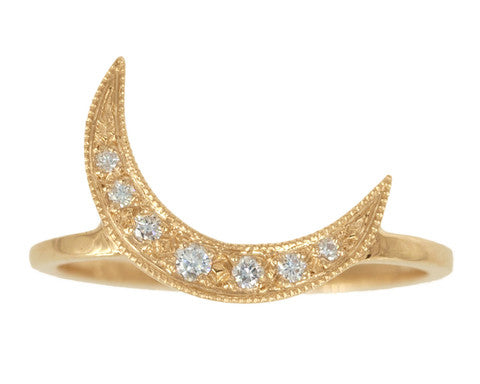White Diamond & Yellow Gold Crescent Moon Ring
