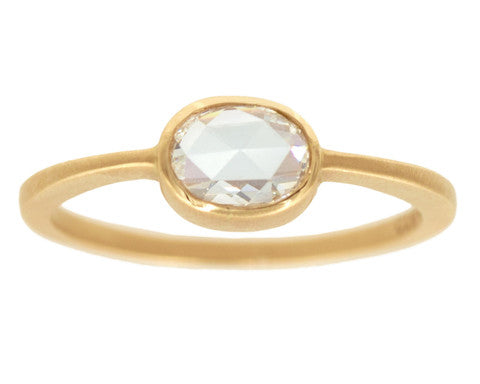 0.50-carat Cushion Rose-cut White Diamond & Yellow Gold Ring