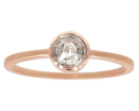 0.50-carat Round Rose-cut Grey Diamond & Rose Gold Bezel Ring
