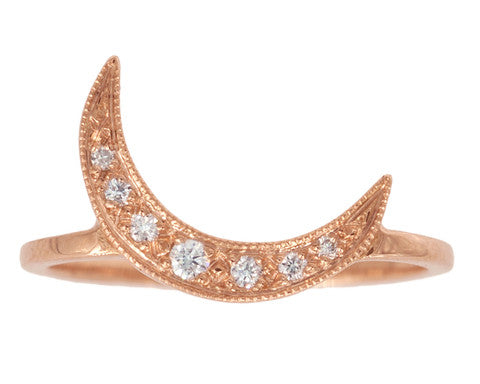 White Diamond Crescent Moon & Rose Gold Ring