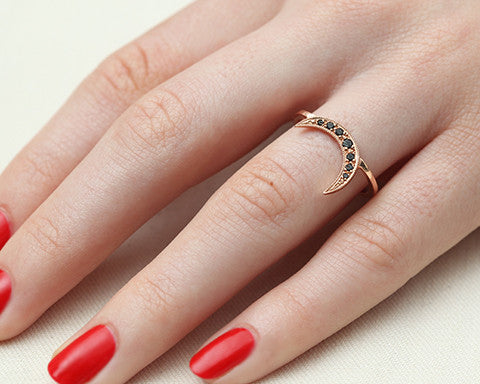 Black Diamond & Rose Gold Crescent Moon Ring