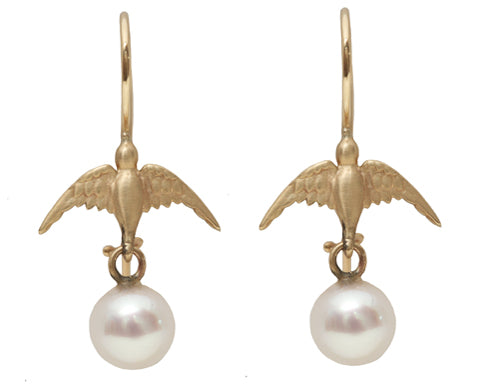 Freshwater Pearls and 14K Bird Hook Earrings