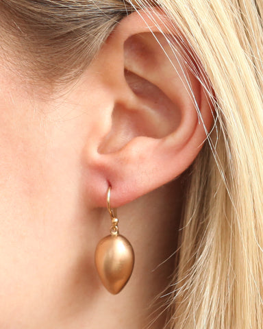 Secret Yellow Gold Bud & Pearl Earrings