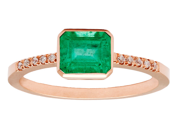 0.90ct Cushion Colombian Emerald & Rose Gold Diamond Pavé Bezel Ring