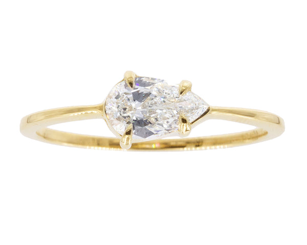 0.50-Carat Pear White Diamond & 18-Karat Yellow Gold Sophia Ring