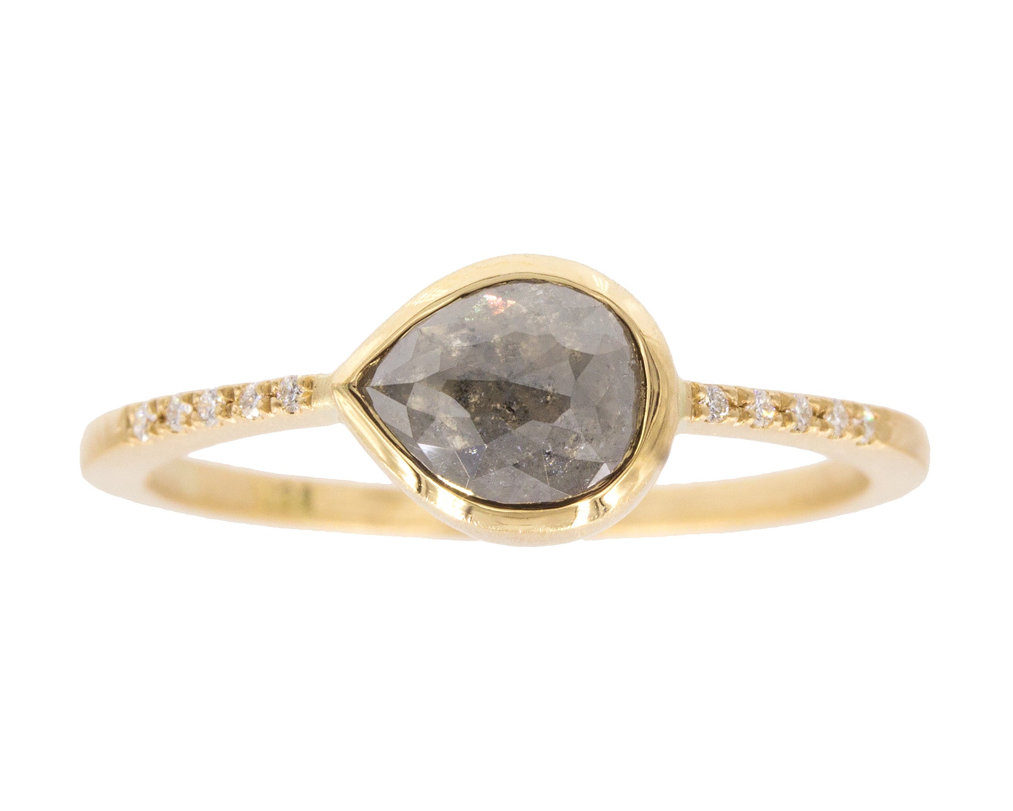 0.83ct Pear Rose-cut Grey Diamond & Yellow Gold Pavé Ring