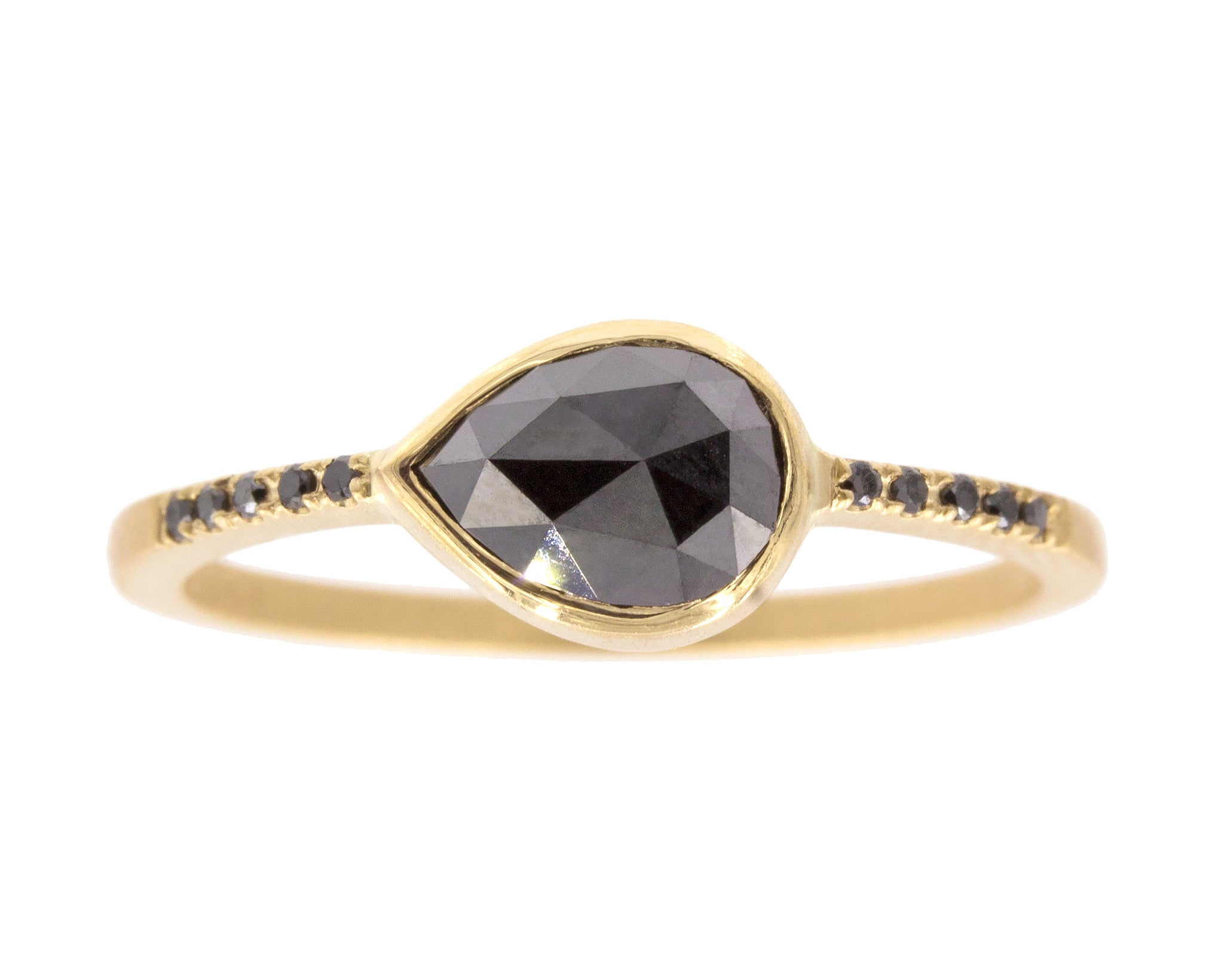 0.83ct Pear Rose-cut Black Diamond & Yellow Gold Pavé Bezel Ring