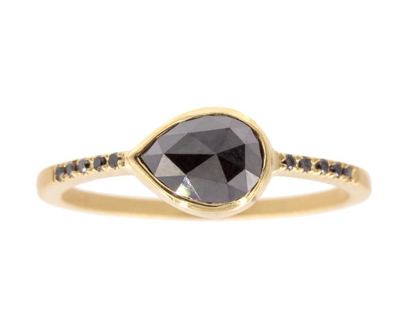 0.83-Carat Pear Rose Cut Black Diamond & Yellow Gold Ring