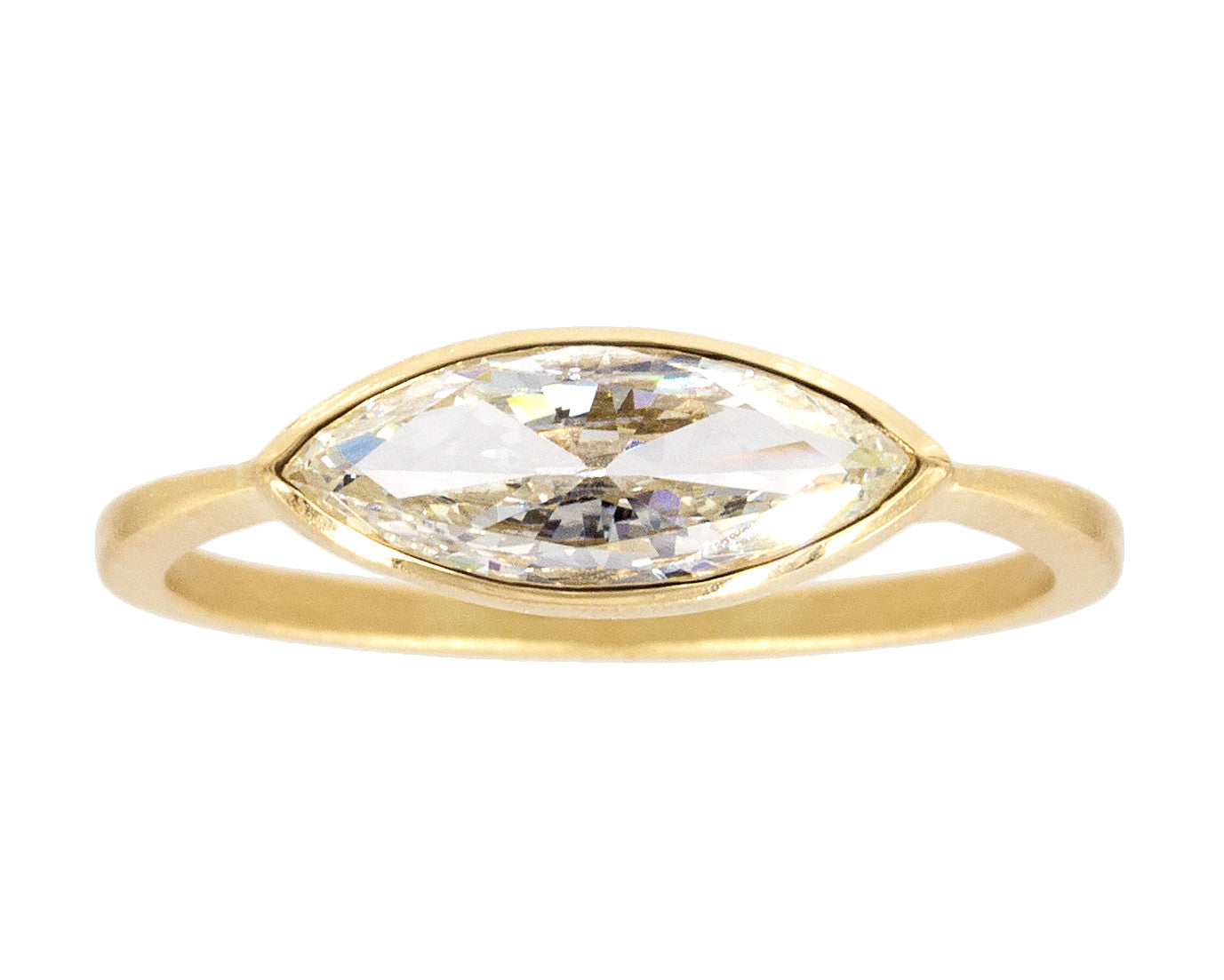 0.65ct Marquise Brillian-cut White Diamond & Yellow Gold Bezel Ring
