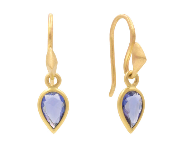 18-Karat Yellow Gold Thorn Hooks and Sapphire Drops