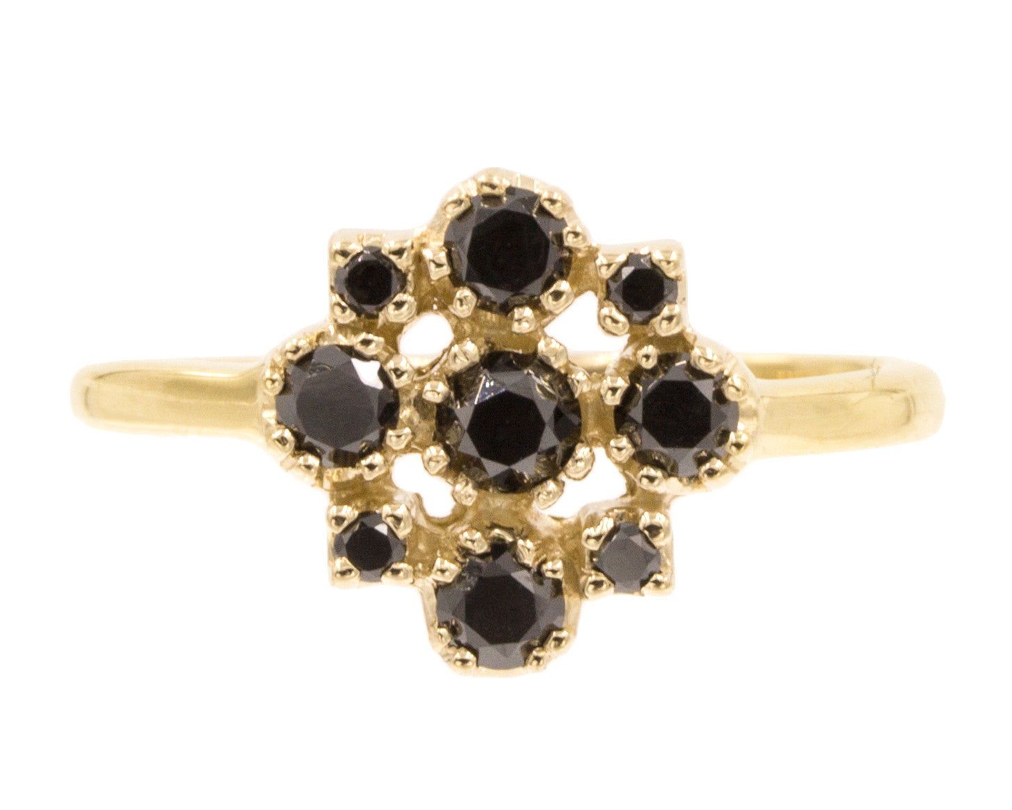 Yellow Gold Marie Black Diamond Cluster Ring