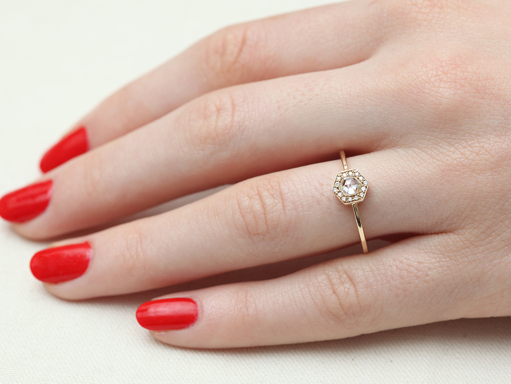 Hexagon White Diamond Halo Ring