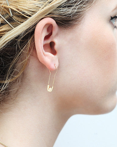 14K Gold Round Hoop Safety Pin Earring