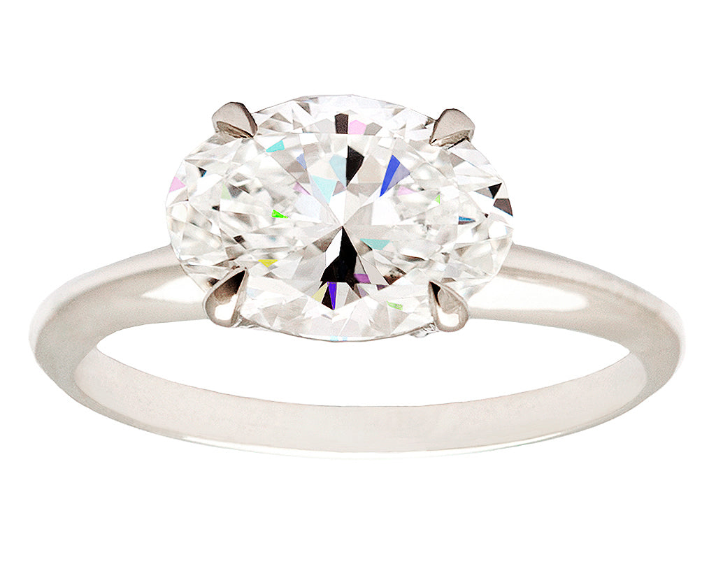 Platinum Oval Solitaire White Diamond Ring