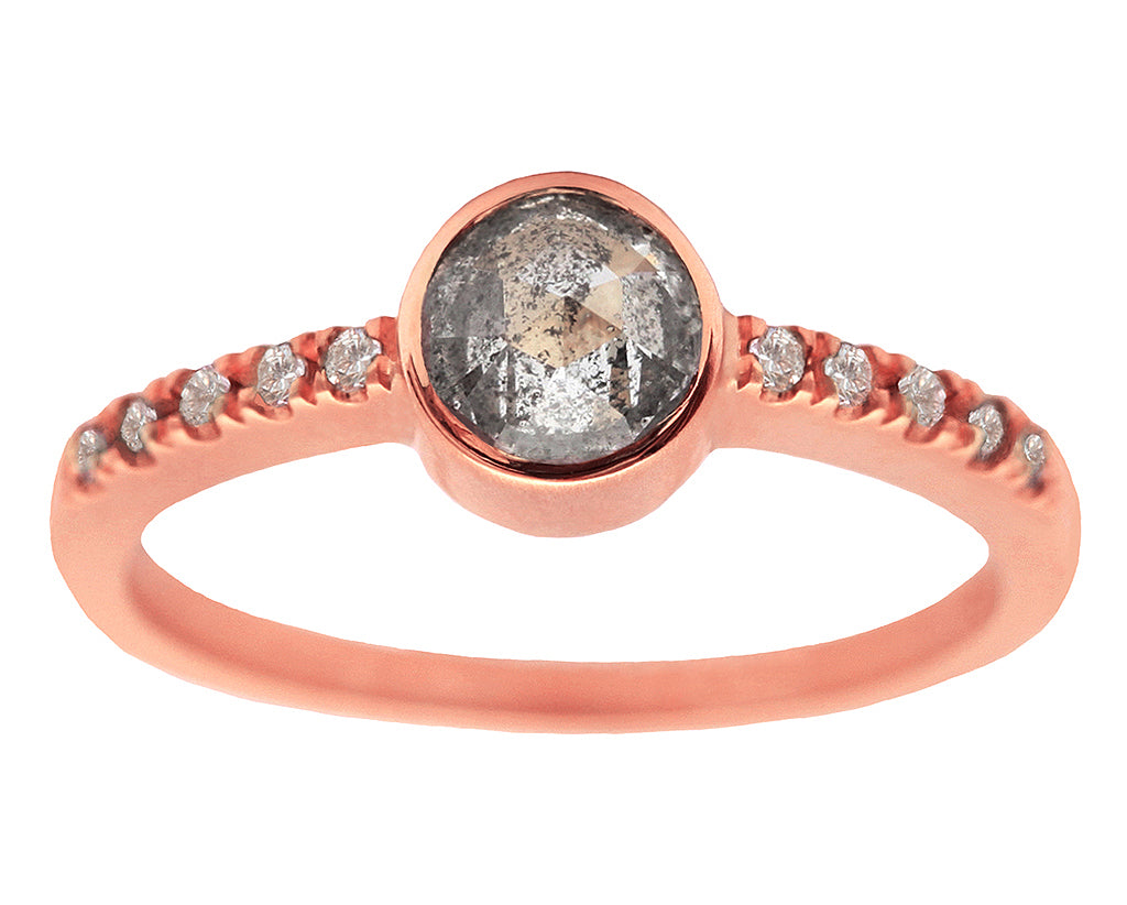 0.50ct Round Rose-cut Grey Diamond & Rose Gold Pavé Bezel Ring