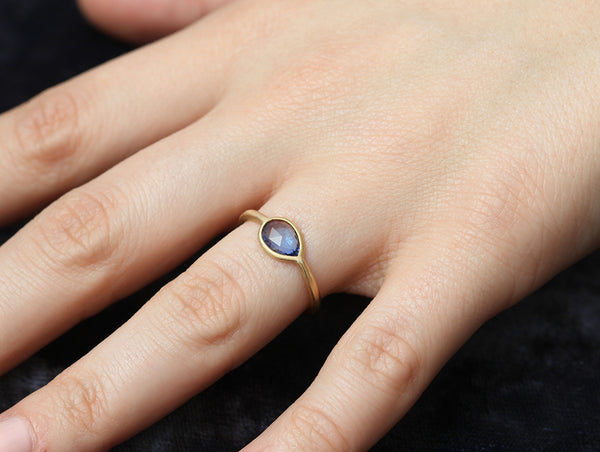 0.94ct Pear Blue Sapphire Ring