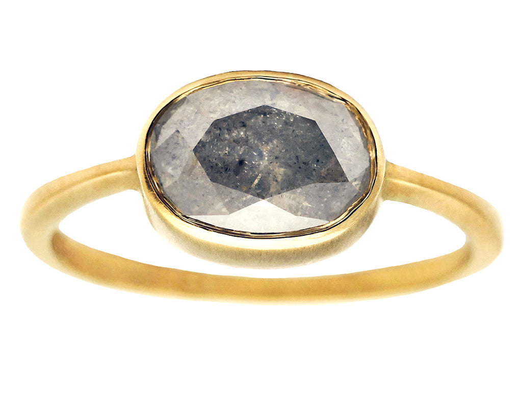 3.70ct Oval Fancy Grey Diamond & 18K Yellow Gold Ring