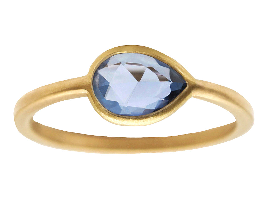 0.90ct Pear Rose-cut Blue Sapphire & Yellow Gold Wire Ring
