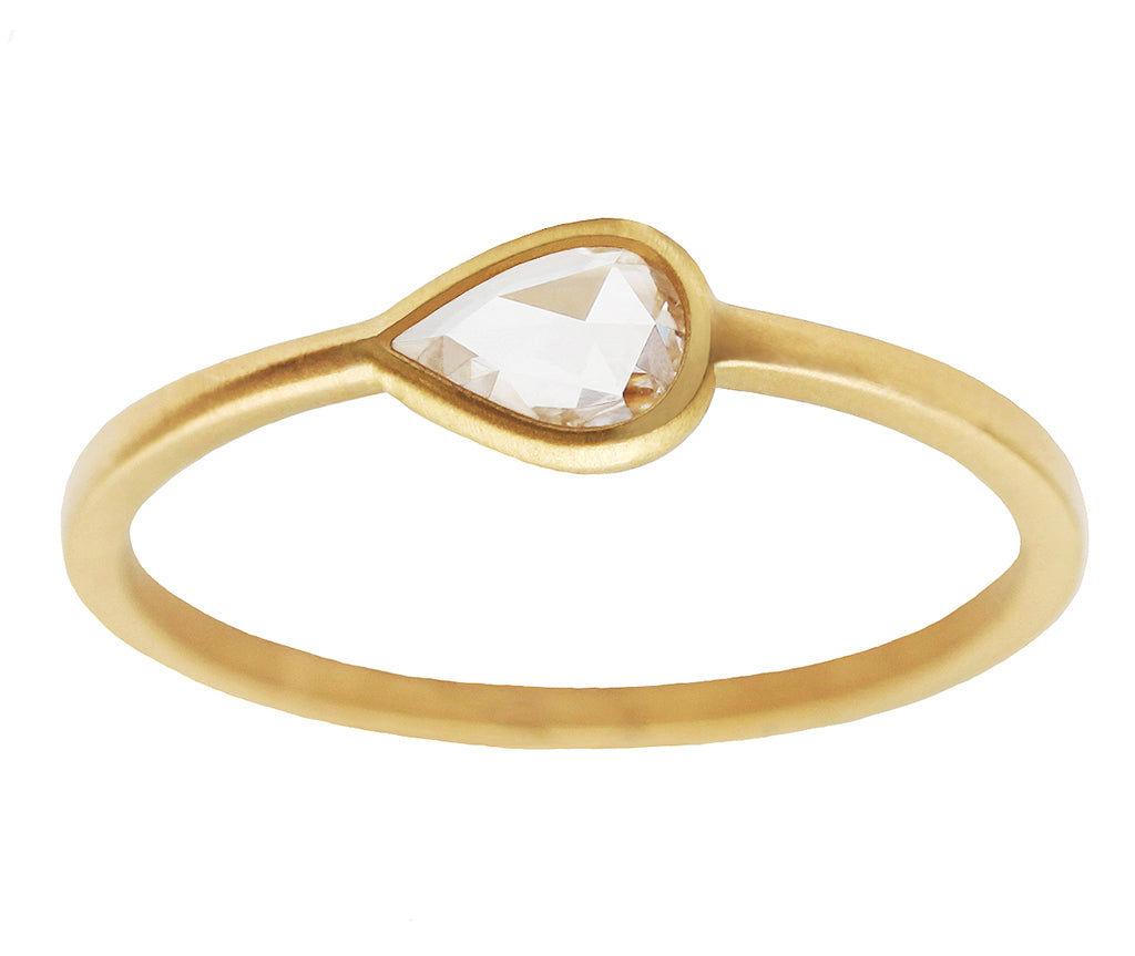 0.30ct Pear White Rose-cut Diamond & Yellow Gold Wire Ring