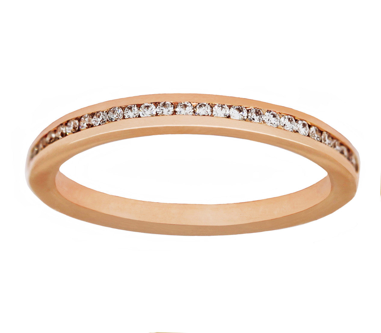 Rose Gold Channel-Set 1mm Diamond Band