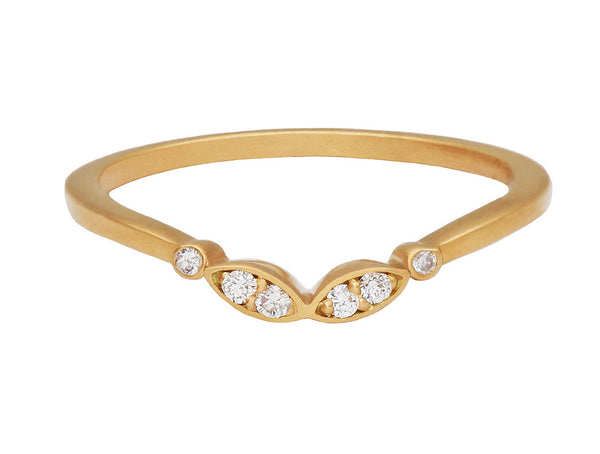 Alex Marquise Curved Gold Band