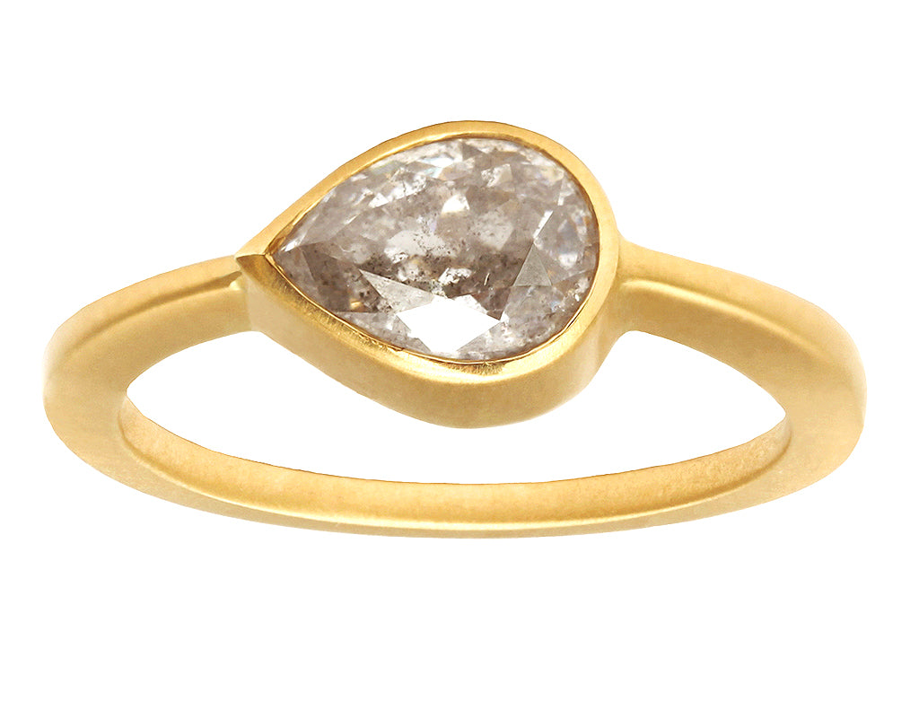 1.50ct Pear Grey Diamond & Yellow Gold Bezel Ring