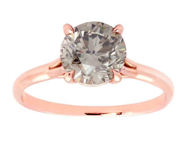 1 carat Round Fancy Grey Diamond Solitaire Ring
