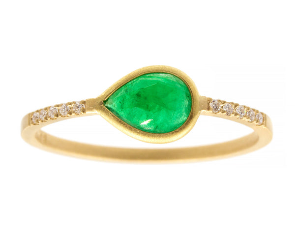 0.50 carat Teardrop Emerald & Pavé Diamond Ring