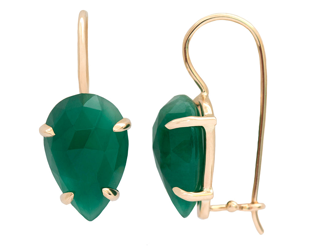 Pear Rose cut Emerald & 14K Yellow Gold Drop Earrings