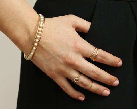 18K Gold Abacus Pearl Bangle