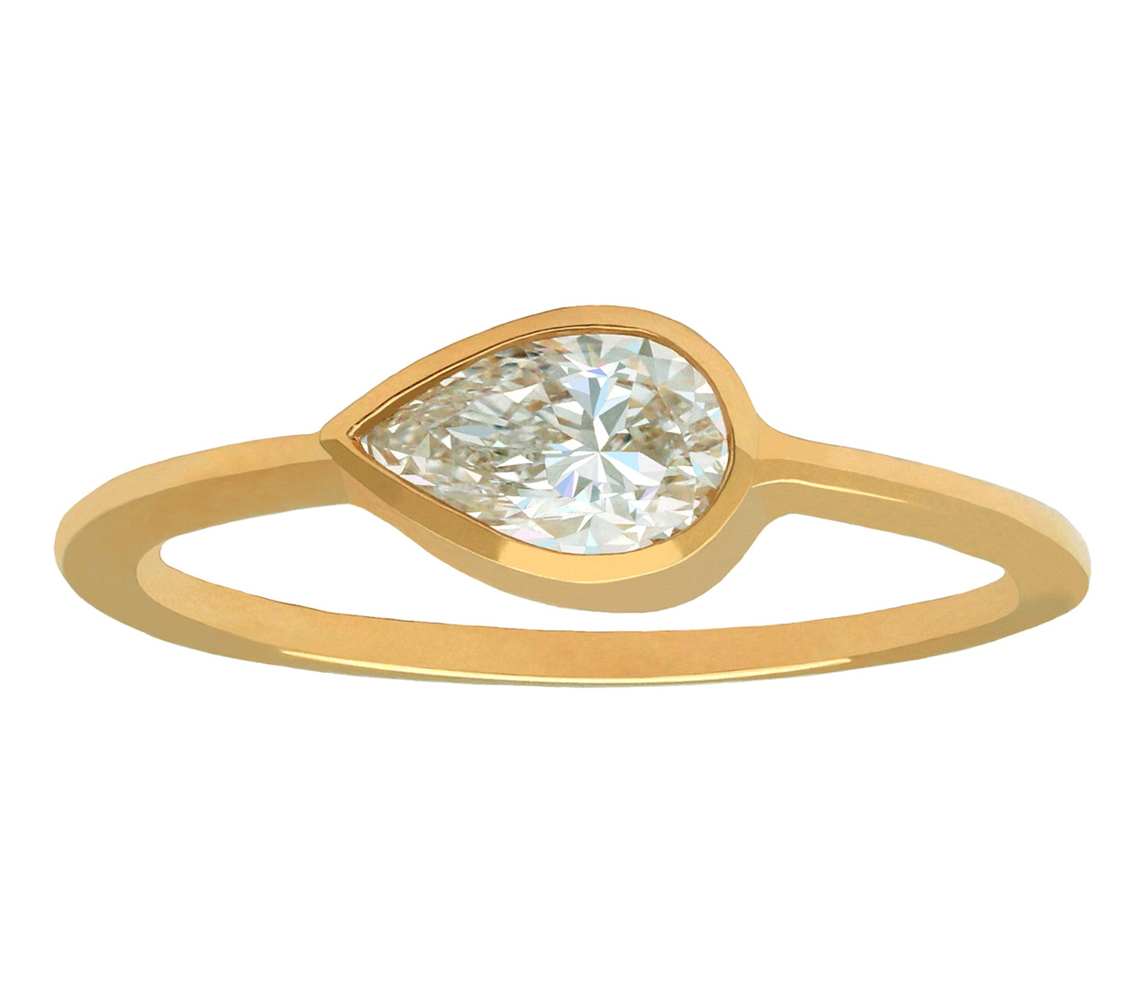 0.50ct Pear Brilliant Cut Diamond & Gold Bezel Ring