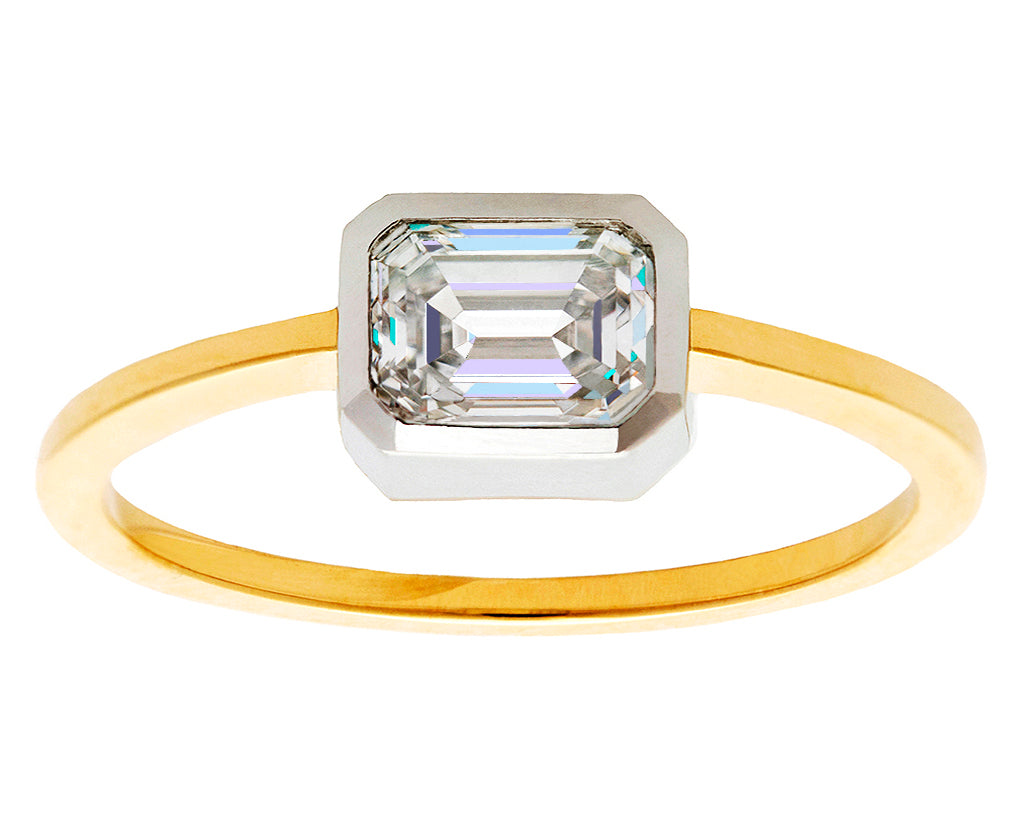 0.71ct Emerald-cut White Diamond & Platinum Bezel Yellow Gold Ring