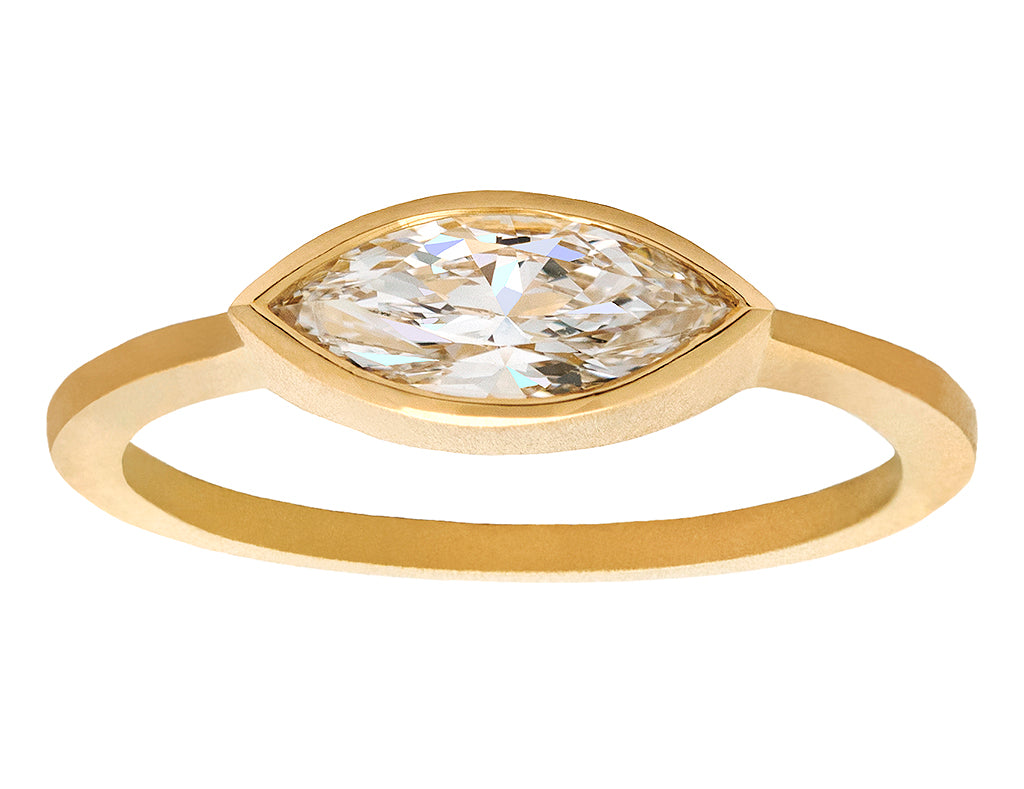0.75ct Marquise Brilliant White Diamond & Yellow Gold Ring
