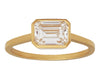 1ct Emerald-cut White Diamond & Gold Bezel Ring