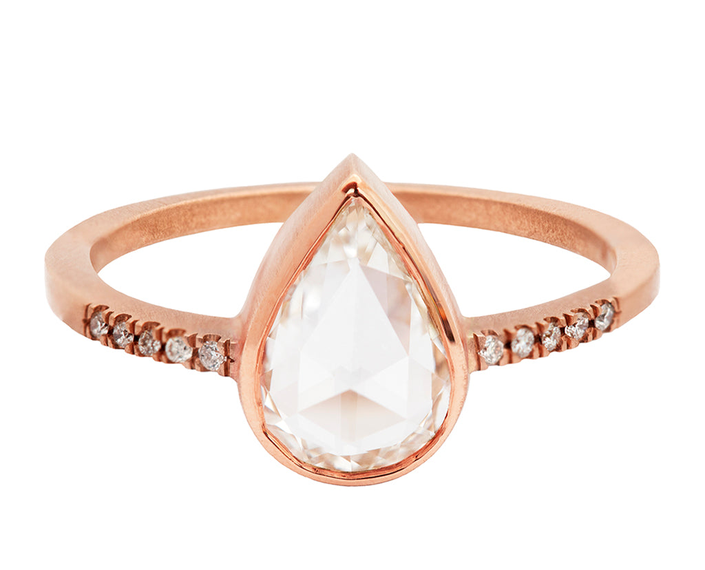 0.89ct Pear Rose-cut White Diamond & Rose Gold Pavé Bezel Ring