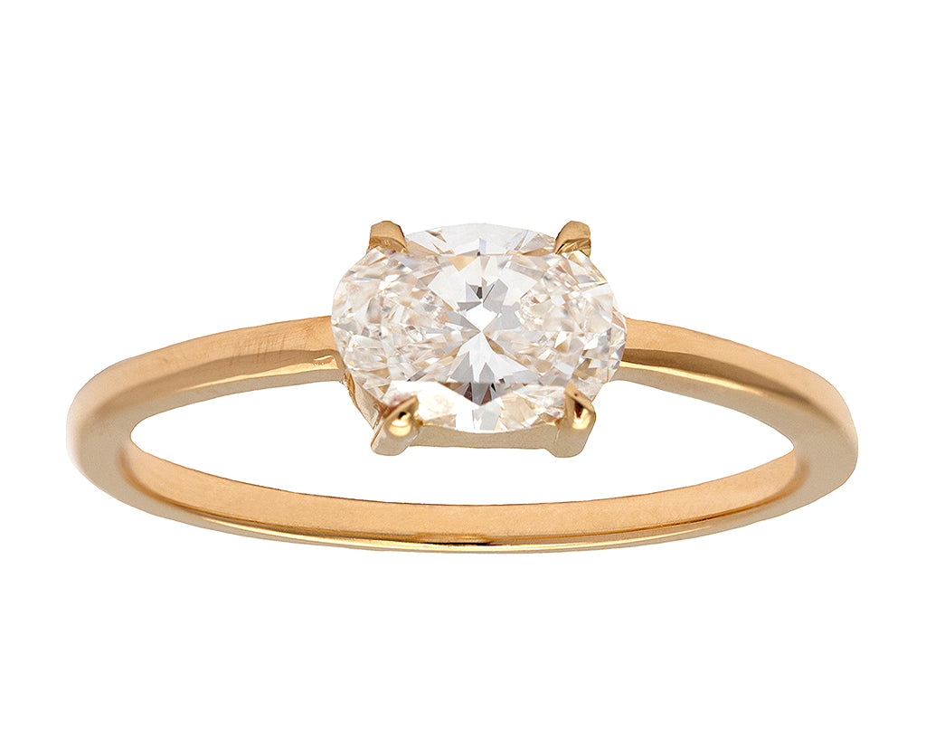 0.70ct Oval White Diamond & Yellow Gold Ring