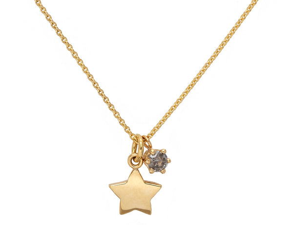 Gold Star Round Grey Diamond Necklace