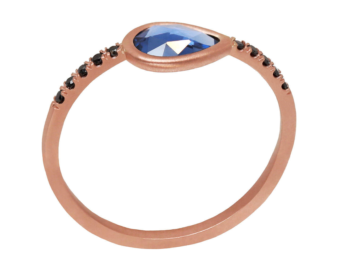 Pear Rosecut Sapphire & Black Diamond Pavé Ring