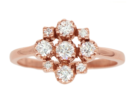 Rose Gold Marie White Diamond Cluster Ring