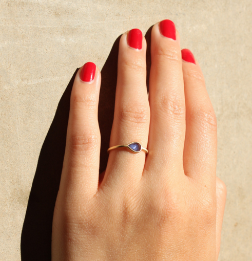 0.50-carat Teardrop Cornflower Blue Sapphire & Yellow Gold Ring