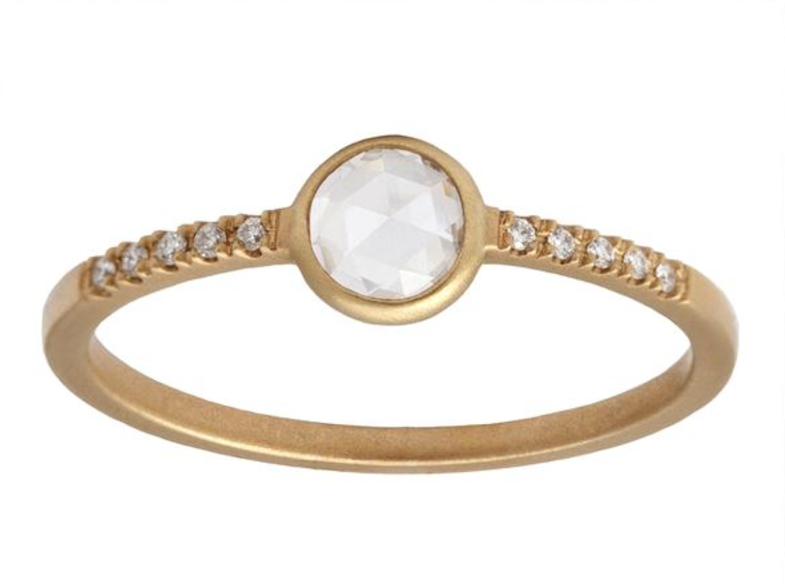 0.30ct Round White Rose-cut Diamond & Yellow Gold Pavé Wire Ring