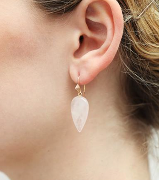 Rose Quartz and 14k Gold Thorn Hook Earrings