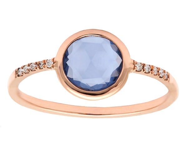 1.05ct Round Rose-cut Sapphire & Rose Gold Pavé Wire Ring